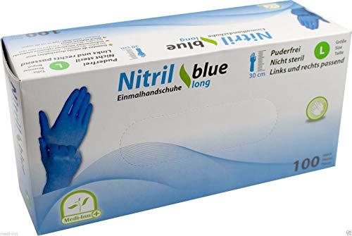 Nitrilhandschuhe Einmalhandschuhe 30 cm, extra lang, blau, 100 Stück (M)