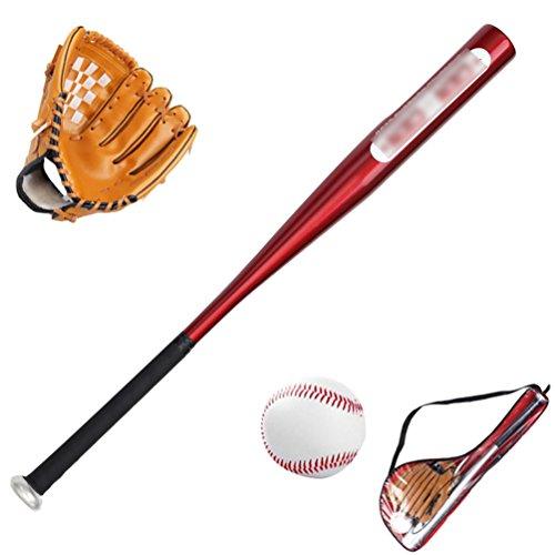 Yiiquan Unisex Enfants Little League Set Kit de Baseball Junior Multicolore : Gants + Batte + Balle (Rouge Marron)