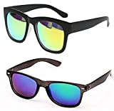 #6: Y&S Low Price Discount Offer Unisex Combo of Branded Stylish Reflector Sunglasses For Men Women Boys & Girls ( OC-GrnMrcyWay-BluMrcyWay ) - 2 Sunglass Case