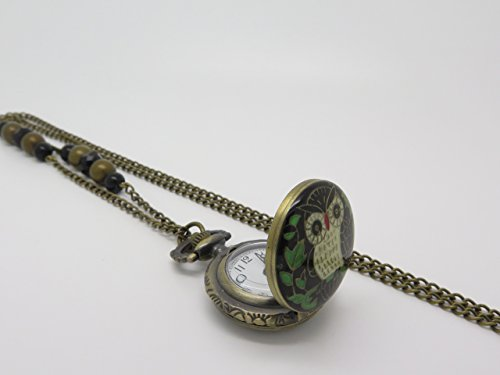 Reloj de bolsillo CON búho, en COLLAR LARGO con perlas de vidrio : idea de regalo para una amiga, une madre, una madrina, una hermana ...