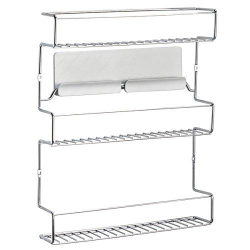 mDesign Especiero de cocina autoadhesivo AFFIXX – Estanterías metálicas para especias con tres estantes – Práctico organizador de especias de color plateado – Metal - 6