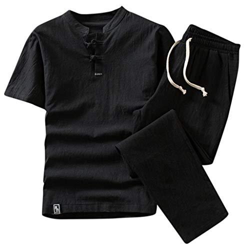 CICIYONER Leinenhemd + Leinenhose Herren Sommer Mode einfarbig Baumwolle und Leinen Kurzarm Hose Set Anzug Trainingsanzug (4XL, Schwarz) - Baumwolle Kurzarm-anzug