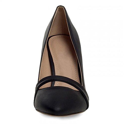 CASPAR - Escarpins classiques élégants pour femme avec bride à l'avant - noir et beige - SBU005 Noir