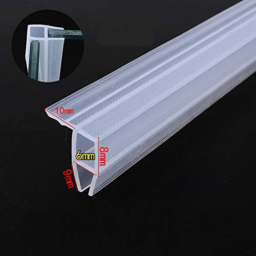 Glasdichtungen Duschkabine Eckdichtung Schiebetür-Schiebefenster Balkon Silikon-Dichtungen Zugluft-Streifen Weathers Draft Stopper 1 Meter 3,28 Fuß lang (für 6mm dickes Glas)