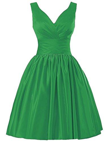 JAEDEN V-Ausschnitt Brautjungfernkleider Kurz Satin Abendkleid Ballkleid Partykleid Grün