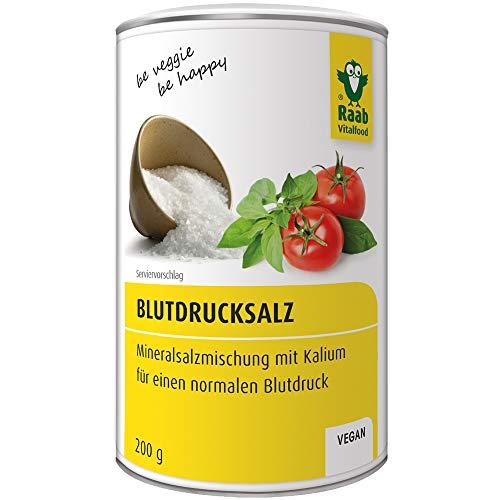 Raab Vitalfood LowNat Blutdruck Salz, vegan, Mineralsalzmischung mit Kalium zur Aufrechterhaltung von einem normalen Blutdruck, 1er Pack (1 x 200 g Dose) (Niedrigen Salz Kochen)