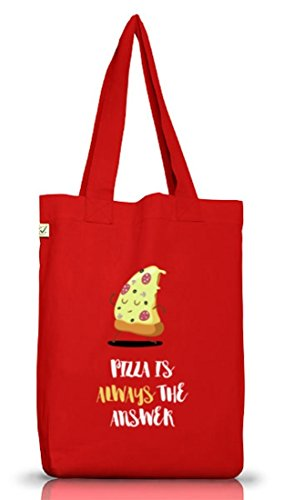 Pizza Nerd Jutebeutel Stoffbeutel Earth Positive mit Pizza Is Always The Answer Motiv Red