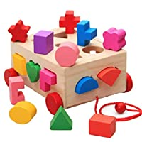 15 Holes Intelligence Box for Shape Sorter Cognitive and Matching Wooden Building Blocks Baby Kids Children Eductional Wood Toys