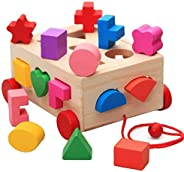 15 Holes Intelligence Box for Shape Sorter Cognitive and Matching Wooden Building Blocks Baby Kids Children Ed