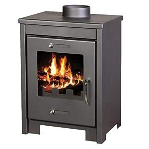 Estufa de leña de 8/12 kW de potencia de calefacción de combustible sólido chimenea de salida de combustible.