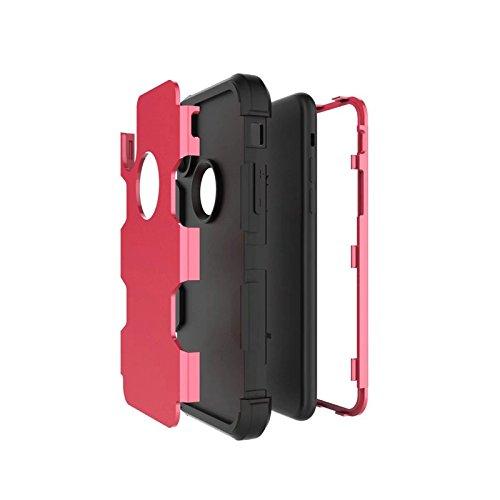 YHUISEN iPhone X Fall, Stoßdämpfung Drei-Schicht-Rüstung Defender [Heavy Duty] Robuste Hybrid Schutzhülle für iPhone X (2017) ( Color : Gray Orange ) Rose Black