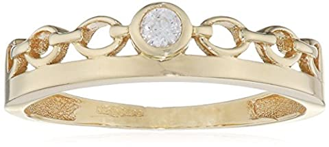 Citerna femme 9 carats (375/1000) Or jaune|Gold Rond Blanc Zirkonia FINERING