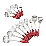 Ordate - Juego de utensilios de cocina (acero inoxidable, mango de plástico de nailon, 14 piezas)