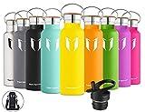 Super Sparrow Trinkflasche Edelstahl Wasserflasche - 500ml & 750ml & 1000ml - Isolier Flasche mit Perfekte Thermosflasche für das Laufen, Fitness, Yoga, Im Freien und Camping | Frei von BPA (Zitrone, 500ml-17oz)