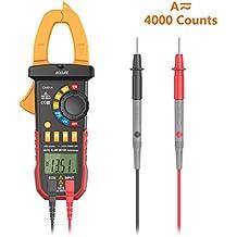 Tacklife CM01A Digital LCD Multímetro Pinza Amperimétrica automático con corriente de voltaje AC / DC, Corriente continua/CA,COUNT4000, Ciclo de trabajo, Prueba de diodo,Auto o manual alcance.