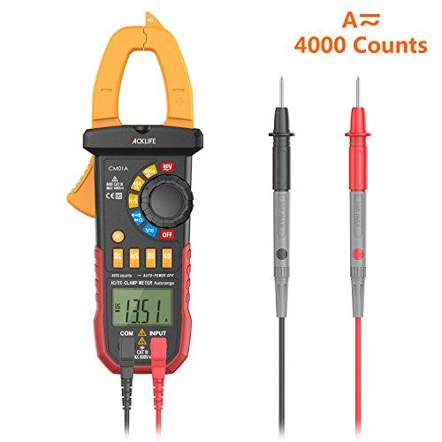 Tacklife CM01A Multimetro Pinza Digitale Misuratore Autoregolabile Senza Contatto di Tensione Multi Tester di AC/DC Tensione & Corrente Resistenza Capacità Frequenza e Diodo con Display Retroilluminato Voltometro