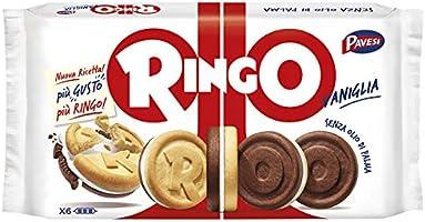 Pavesi Snack Ringo Vaniglia Formato Famiglia, Snack per Merenda o Pausa Studio - Confezione da 6 X 55g