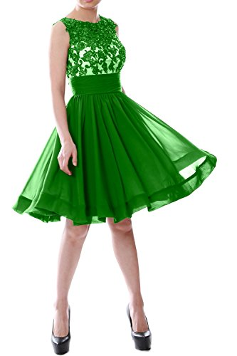 MACloth Women Beaded Lace Chiffon Short Prom Formal Dress Cocktail Party Gown Green
