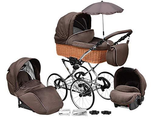 """SKYLINE Klassisch Retro Stil Wicker LUX Kombi-Kinderwagen Buggy 3in1 Reise System Autositz (Isofix) (Chocolate Brown/17\""""Räder)"""