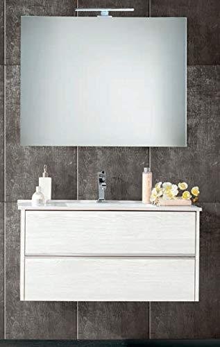 Easy mobile da bagno sospeso in stile moderno 91x46cm due cassetti a rilascio soft