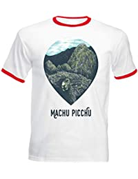 teesquare1st Machu Picchu Llama Peru Tshirt de Hombre con Bordes Rojos