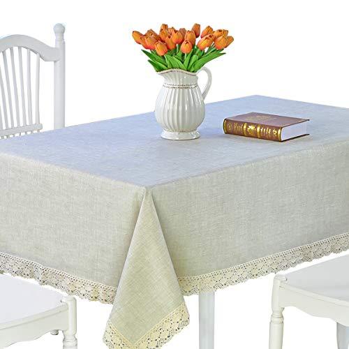 DARUITE Tischdecke Rechteck Tischdecke PVC Küchentischtuch Gewicht Vinyl abwischbar Ölbeständiges Wasserdicht Schmutzabweisend Mildew fest (Leinen, 155 * 200 cm)