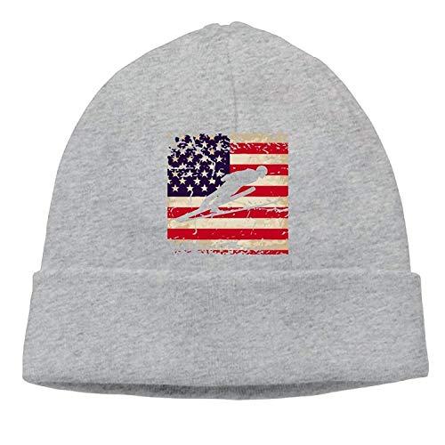 deyhfef Adult Ski Jumper American Flag Weiche Strickmützen