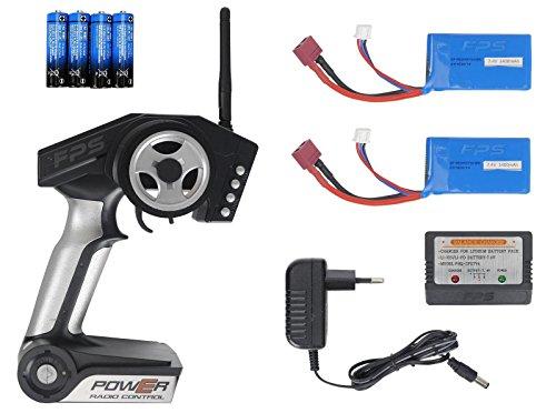FPS RTR Bundle: Rayline Funrace FR01S D, A969-B, RC 2.4G Speed Elektro PRO Truggy Buggy, ferngesteuert, Pistolenfernbedienung, bis 70 kmh, 540er Motor, Metall Upgrade, 1:18 + 1x LiPo 1400 mAh Akku+ 4x AA Batterien - 7