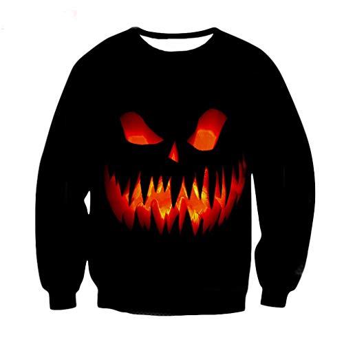 Shirt Kostüm Gangster Gestreifte - Xmiral Sweatshirts Pullover Herren 3D Drucken Lange Ärmel Tops Slim Fit Rundhals Outdoor Allerheiligen Persönlichkeit Grässlich kostüm(Schwarz 1,S)