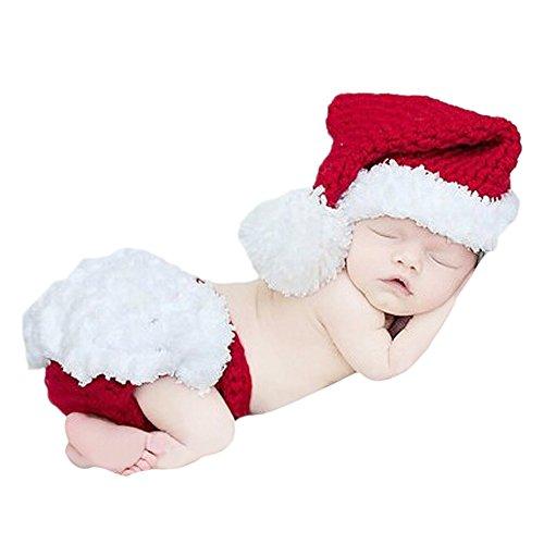 Babykleidung,BEETEST Unisex Cute Christmas Santa Rot Stil Infant Neugeborenes Baby Jungen Mädchen Hut und Hose Kleidung Set Foto Requisiten (Kleidung Infant Kleidung)