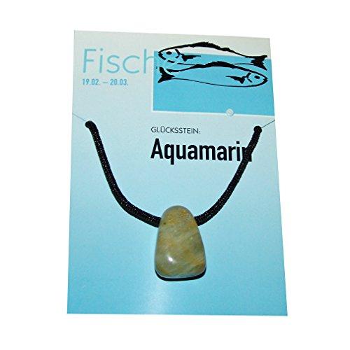 Sternzeichen Fisch 20.02. - 20.03 Glücksstein Aquamarin / Trommelstein gebohrt ca. 20 x 10 x 25 mm mit Textilband.(3292)