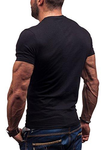 GLO STORY 7434 - T-Shirt Kurzarm Herren – Figurbetont Schwarz