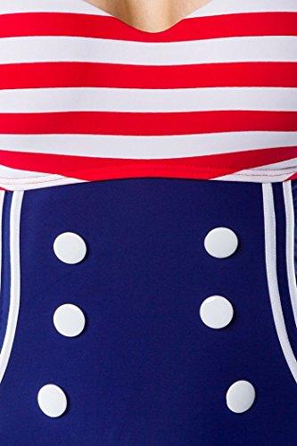 Vintage-Badeanzug mit Knöpfen Rot/Blau/Weiß