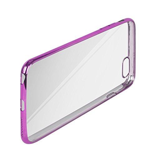 Oats® Apple iPhone 6 Plus, 6s Plus Hülle TPU Case Schutzhülle mit farbigem Bumper Rand Crystal Case Durchsichtig Extrem Dünn Ultra durchsichtig - in Grau Pink Rosa