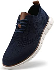 VILOCY Men's Mesh Wingtip Oxford Breathable Walking Shoes Casual Lightweight Lace up Sne