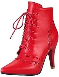 AalarDom Damen PU Leder Knöchel Hohe Rein Ziehen auf Stiletto Stiefel, Rot, 44