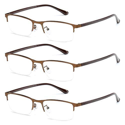 Aiweijia Unisex Mode Bequem Lesebrille 3 Packungen Metall Halber Rahmen Harz Objektiv Klassisch Lesen Gläser +1.0 bis +4.0