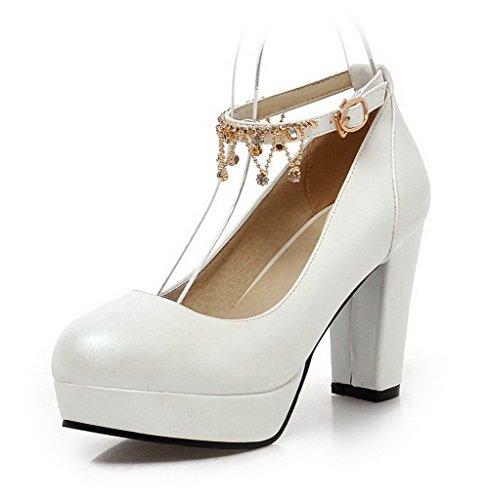 AgooLar Damen Pu Leder Eingelegt Schnalle Rund Zehe Hoher Absatz Pumps Schuhe Weiß