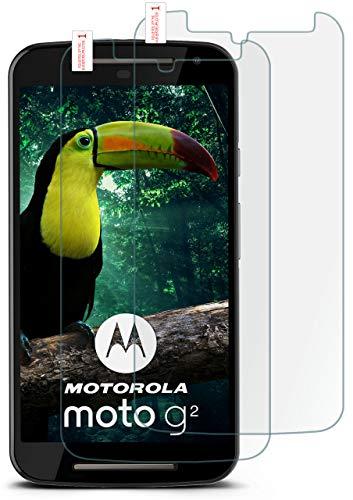 moex 2X 9H Panzerfolie für Motorola Moto G2 | Panzerglas Bildschirm Glasfolie [Tempered Glass] Screen Protector Glas Bildschirmschutz-Folie für Motorola Moto G 2. Generation Schutzfolie