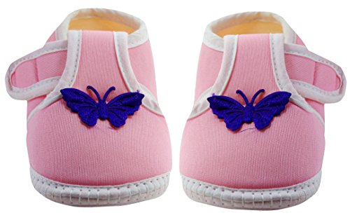 Neska Moda Baby Boys & Girls Butterfly Baby Pink Booties For 0 To 12 Months Infants