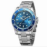Winner Reloj para Hombres Reloj mecánico automático Cubierta Posterior Transparente Cubierta con 3 Puntos de Acero Inoxidable Reloj de Negocios para Hombres,Blue