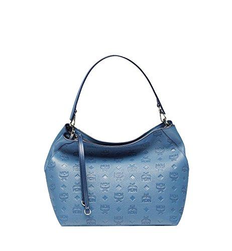 MCM Damen Hobo Tasche Klara Monogrammed Leather MED Luft Blue