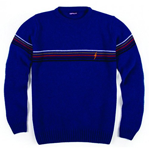 L. Bolt Lambswool Stripe Crewneck State, Pullover, blau, M -