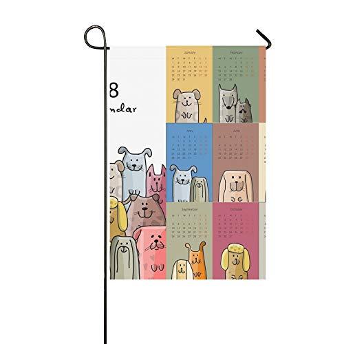 QuqUshop Wohnkultur Outdoor Doppelseitige Lustige Hunde Kalender 2018 Design Garten Flagge Haus Hof Flagge Garten Hof Dekorationen saisonale Willkommen Outdoor Flagge 12x18 In
