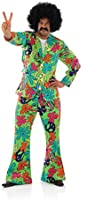 Mens 1960s 70s Peace Out Disco Suit Decades Party Trippy Hippy Hippie Fancy Dress Costume Outfit