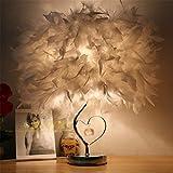 WLM Nordic Persönlichkeit Tischlampe, Stilvolle Lampen Minimalistischen Lampen antiken Tischlampen Crystal Feather-Light LED Schlafzimmer Nachttischlampe Schreibtischlampen, 35 cm-White 2