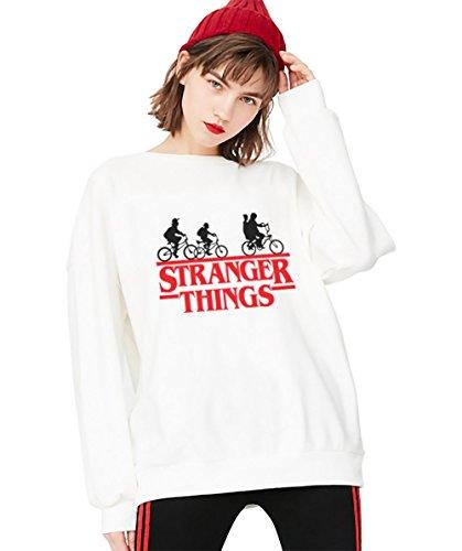 Sudadera Stranger Things TV Mejor Amiga Algodón Pullover Best Friend Cuello Redondo Hoodie Manga Larga Retro para Mujer Sweatshirt Casual(Blanco,S)