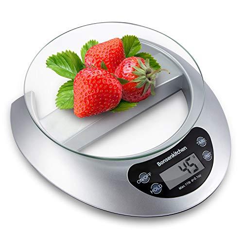 Bonsenkitchen Báscula Digital Balanza de Cocina Profesional, Escala de Peso de Alta Precisión con Vidrio Desmontable y Pantalla LCD - 5 kg / 11 lb, Báscula de Alimentos Electrónica (KS8802)