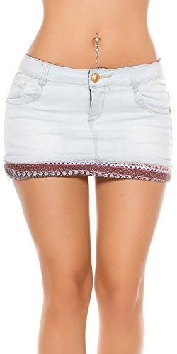 RJonacoJeans Damen Jeans Mini Rock Minirock Jeansrock 5 Pocket Denim Stretch 34 36 sexy Party hellblau (Saum-jeans-mini-rock)