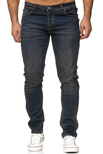 Reslad Jeans Herren Slim Fit Basic Herren-Hose Jeanshose Männer Jeans Hosen Stretch Denim RS-2091 Dunkelblau W30 / L34